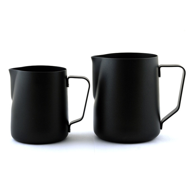 Black Non-stick Coating Coffee Mug Cup Jug Stainless Steel Espresso Milk Coffee Frothing Jug Tamper Cup Mug 350ml /600ml