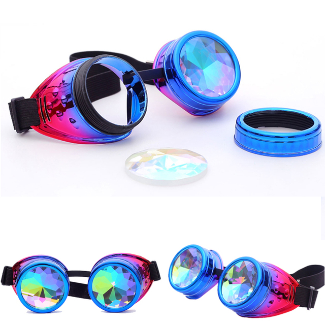 C.F.GOGGLE Halloween Kaleidoscope Colorful Goggles Steampunk Women Retro Glasses Men Party EDM Sunglasses Diffracted Lens