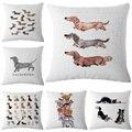 Dachshund Cushion Cover Dog Printing Linen Throw Pillows Car Sofa Pillow Cover Home Decorative Pillowcase decorativos cojines