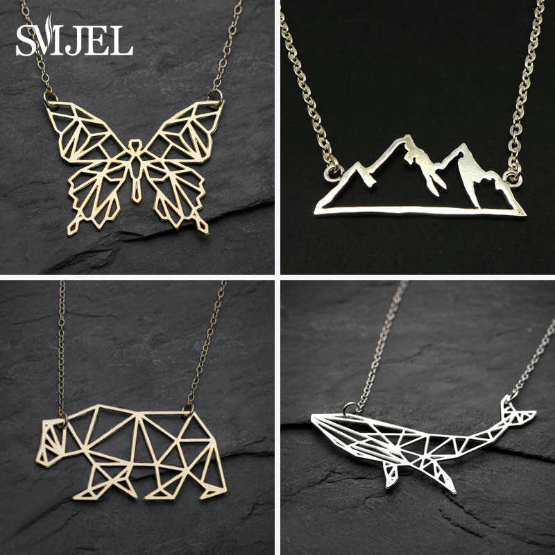 SMJEL Trendy Cute Animal Butterfly Necklaces & pendants Mountain Charm Geometric Necklaces for Women Jewelry collana