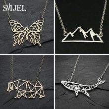 SMJEL-collares y colgantes de mariposa para mujer, collares y colgantes geométricos con dije de montaña, joyería de collana