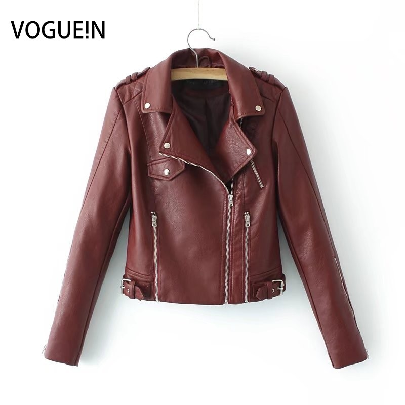 VOGUEIN New Womens Fashion Soft Faux   Leather   Motorcycle Jacket Lapel 4 Colors Coat Outerwear Wholesale