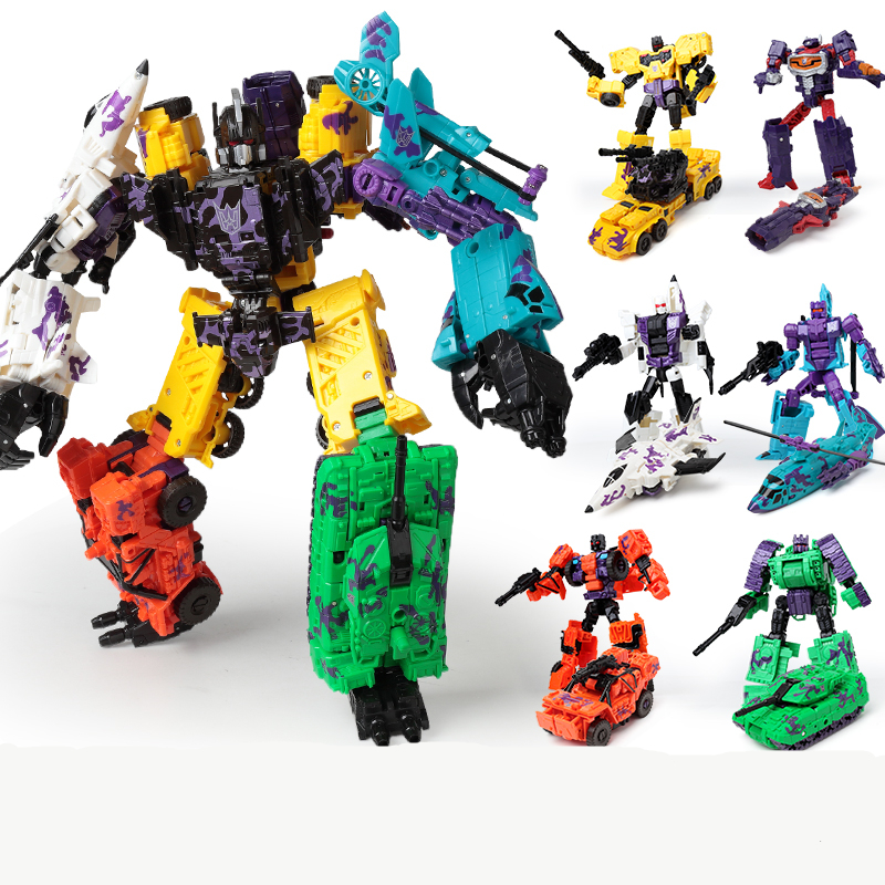 Lensple Transformation 6 In 1 KO New Desigh Bruticus And Shockwave Collection Robots Action Figure Toys 2014 new high quality building blocks minifigures 4 in 1 combiner various models transformation robots cars action figure