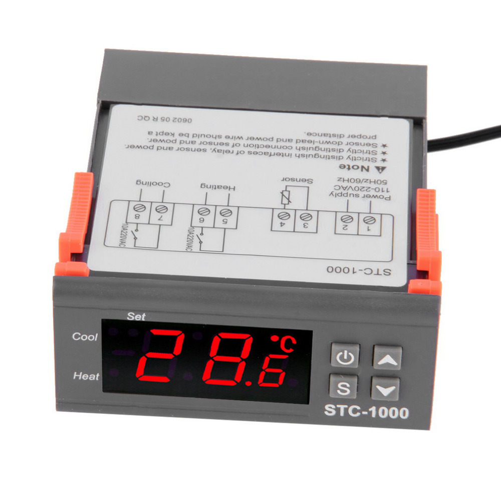 4 - 6.9 Display Temperature Controller 1 M Cable Thermostat Aquarium STC1000 Incubator Cold Chain Temp Laboratories Temperature ...