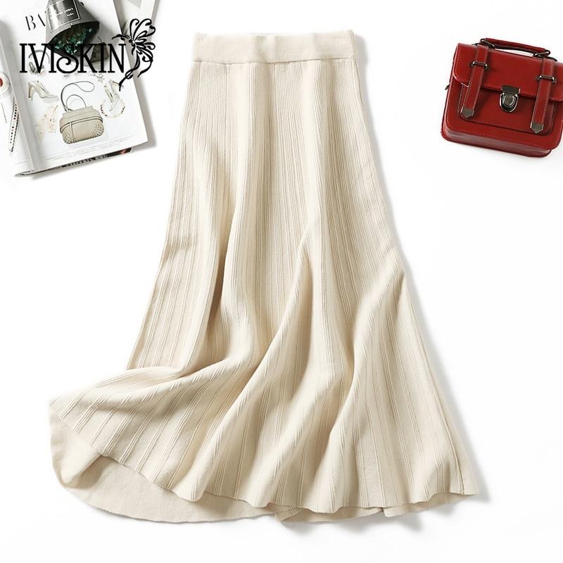 Fashion Women's High Waist Elastic Pleated Length Skirt Lady Party Casual Elegant Long Skirts Faldas Mujer Moda 2018