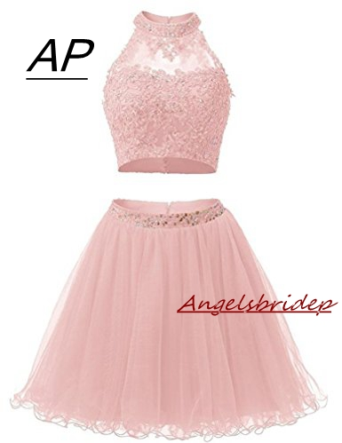 Two Pieces 1950S High Neck Homecoming Dresses Sexy Hollow Back Beading Tulle Short Cute 8th Grade