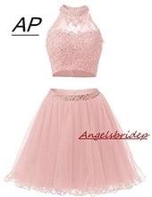 두 조각 1950 년대 높은 목 동창회 드레스 섹시 할로우 다시 구슬 얇은 명주 그물 짧은 귀여운 8 학년 졸업 드레스 플러스 크기