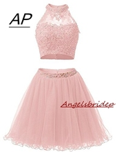 Two Pieces 1950S High Neck Homecoming Dresses Sexy Hollow Back Beading Tulle Short Cute 8th Grade Graduation Dresses Plus Size
