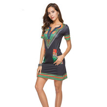 Summer Fashion Shoer Sleeve V-Neck Floral Print Pocket Patchwork Bodycon Tunic  Dress Casual Dresses a5f4fb6dc6d5