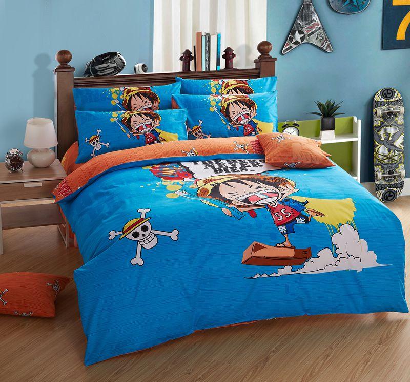 100 cotton one piece anime bedding sets 3d duvet cover 3pcs twin size for single bed sheets - Housse de couette one piece ...