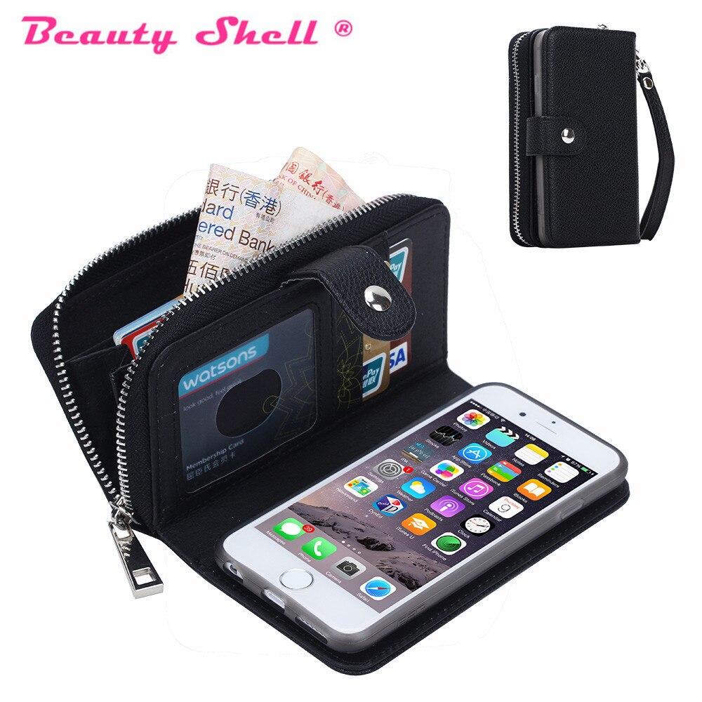 Цена за Многофункциональный съемный кошелек кожаный чехол для iPhone 5S 6 6 S Plus для iPhone 7 кошелек на молнии чехол Случаи Женские сумки крышка