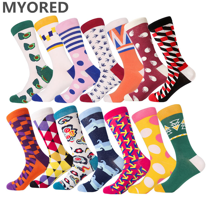 MYORED 1 Pair Man Socks Combed Cotton Colorful Funny Socks Novelty Classic Moustache Stripes Gradient Diamond Lattice Cross Grid