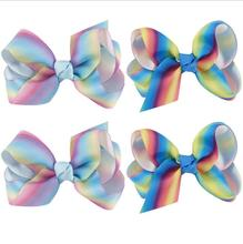 "DHL Free Shipping 100pcs/lot Jojobow 3""Boutique Rainbow Grosgrain Hairbow Twisted Ribbon hairbow Boutique Hair Accessories"