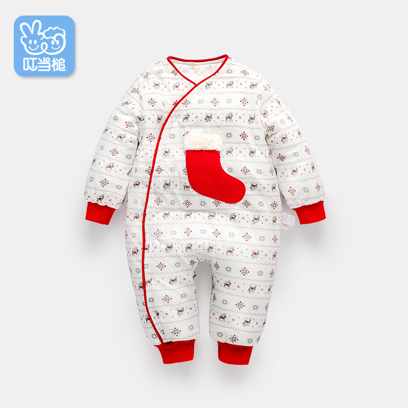 Dinstry winter jumpsuit newborn baby Christmas pattern clothes thickening warm cotton romper dinstry 2018 spring and autumn newborn baby cotton long sleeve romper lion pattern