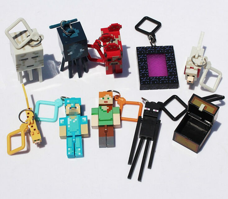 New Hot Minecraft Keychain 10pcs/lot Hangers Series 2 Figure Toys Models MC Backpack Creeper Keychain Children Gift Promotion
