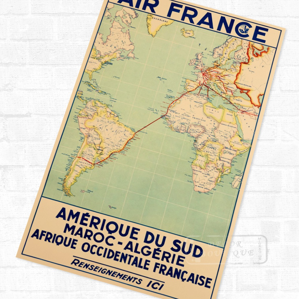 Air France Routine African Propaganda Vintage Travel Poster Retro ...