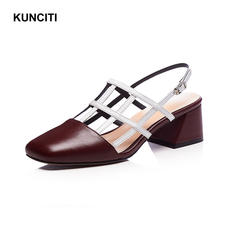 ... 2018 Sexy Designer Heel Out High Square Chunky Leather Toe Rome Hollow  Match Sandals KUNCITI S46 ... 4bbf69e2deab