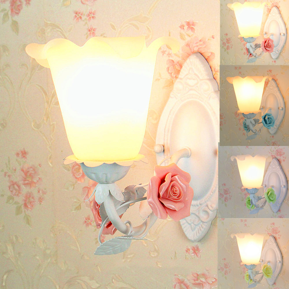 Glass Led Wall Lamp E27Bedroom Lighting Lamps110-220v Wall Mounted Bed Reading Blue Flower Light Luminaria modern brief bedside wall lamps 1w led reading light lamp wall bed hose rocker arm reading wall lighting fabric lampshade wwl098