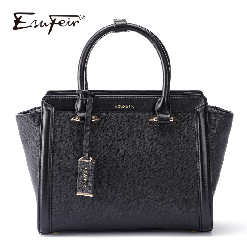 ESUFEIR Brand Genuine Leather Luxury Handbag Women Bags Designer Cow Leather Shoulder Bag Casual Tote Trapeze Bag bolsa feminina esufeir brand genuine leather women handbag cross pattern cow leather shoulder bag fashion design top handle trapeze women bag