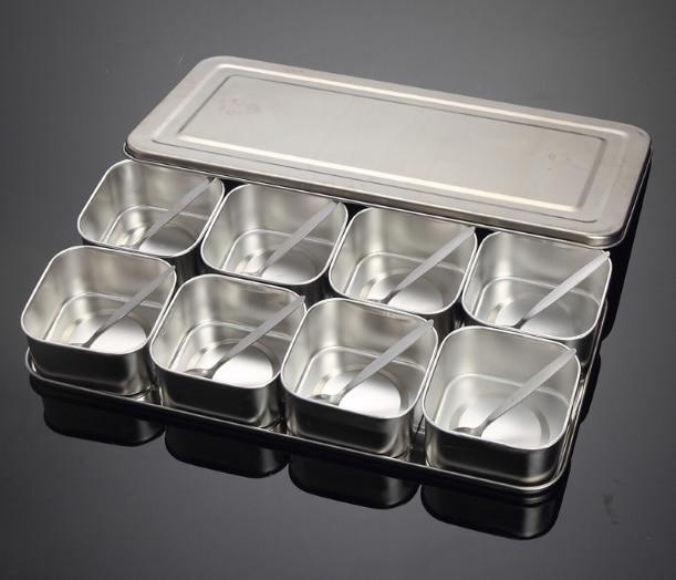 Японский набор коробок для приправ из нержавеющей стали, креативная банка для приправ, 6 сеток, 8 сеток, дополнительно с крышкой, кухонная коробка для специй Q221 - Цвет: colour2