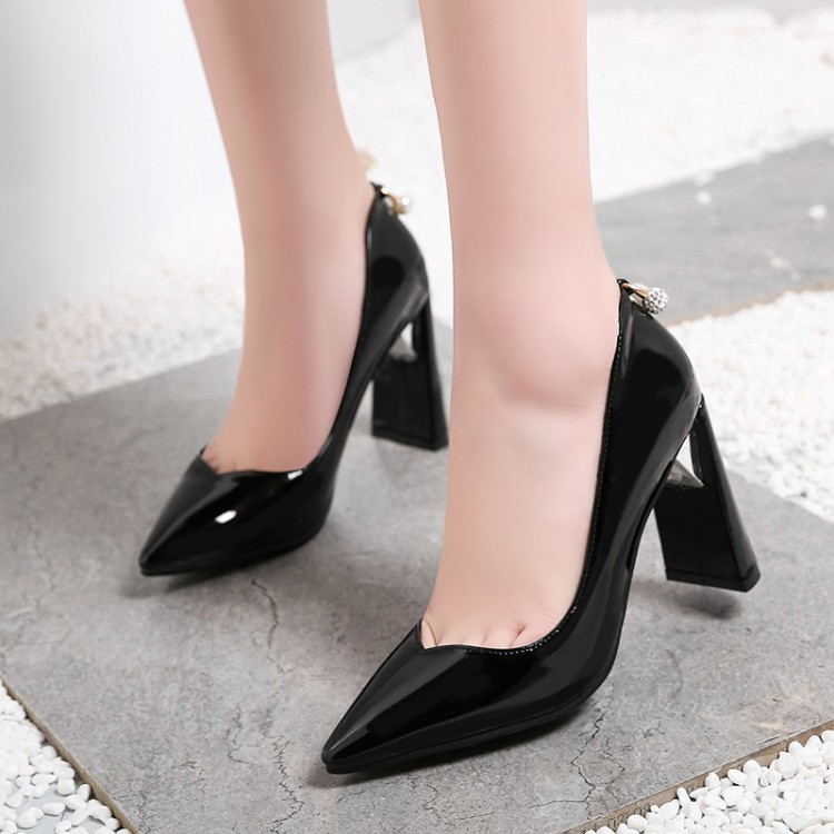 Big Size 11 12 13 14 15 ladies high heels women shoes woman pumps Coarse heel water drill with lacquer tip and shallow socketBig Size 11 12 13 14 15 ladies high heels women shoes woman pumps Coarse heel water drill with lacquer tip and shallow socket