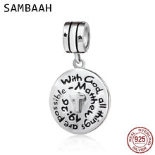 Sambaah 925 Sterling Silver Jesus Hint With God All Things Are Possible Prayer Cross Charm Beads for Pandora DIY Bracelet SS3835