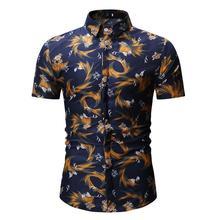 Mens Shirt Casual Short Sleeve Flower Dress Shirts Summer Hawaiian Blouse Men Beach Style New