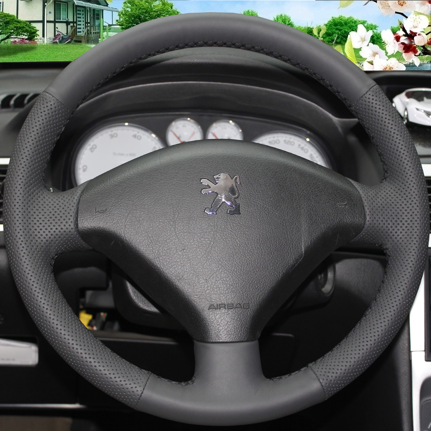 Black Leather Hand stitched Car Steering Wheel Cover for Peugeot 307
