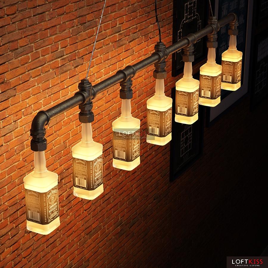 Jack Daniels Bottle Chandelier Lighting Water Pipe Vintage Bar Decorative Lights Fixture Beer In Chandeliers From
