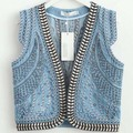 Vintage Casual Denim Vest Women Waistcoat Fashion Embroidery Sleeveless Jacket Short Jean Vest S-L