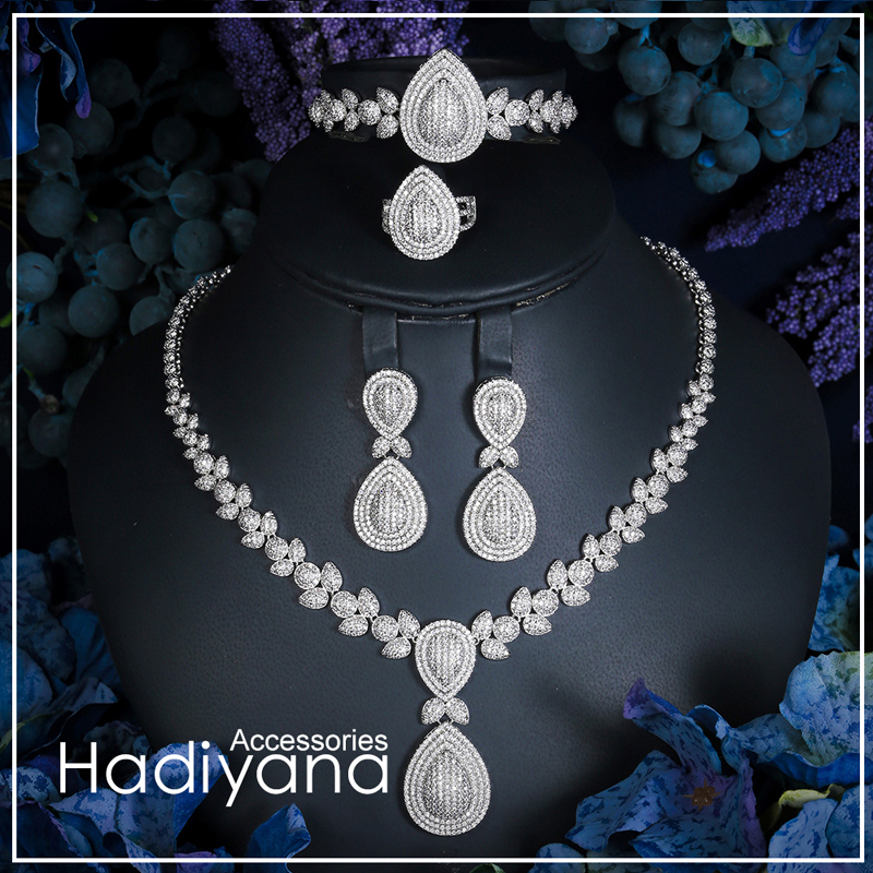 Hadiyana Luxury Shinning Cubic Zircon 4 piece Set Jewelry For Women Hot Selling Necklace&bracelet&earrings Jewelry Sets CN289Hadiyana Luxury Shinning Cubic Zircon 4 piece Set Jewelry For Women Hot Selling Necklace&bracelet&earrings Jewelry Sets CN289