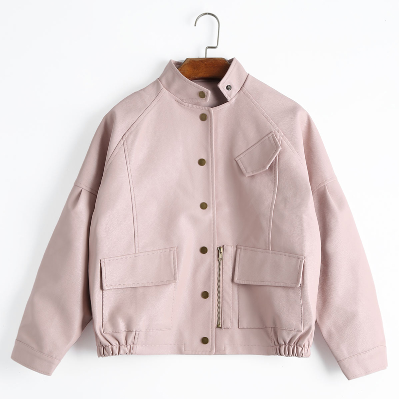 Ailegogo New Autumn Women Vintage PU   Leather   Jacket Short Design Loose Faux   Leather   Jackets Harajuku Baseball Uniform Outwear
