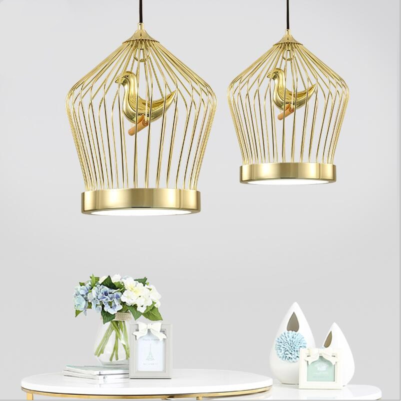 Lâmpadas LED criativo luzes pingente gaiola de Pássaros do vintage resina pássaro para cozinha sala de jantar iluminação sótão restaurante do hotel