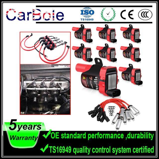 Carbole 8 個ラウンド UF262 点火コイル + 8 個スパークプラグワイヤーのためのシボレー gmc 5.3L 6.0L 4.8L c1251 UF 262 車アクセサリー