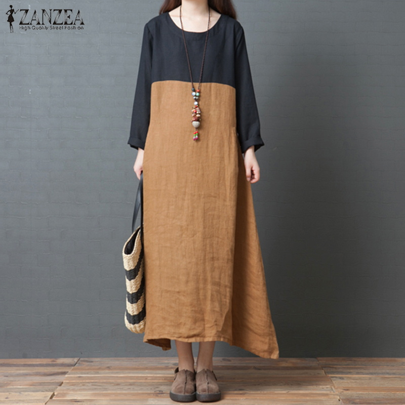 ca3aeba7d2 Package include 1 Dress Product Detail  -Long Sleeve -Round Neck -With  Pockets -Casual Loose -Plus Size -Multi-color -Simple And Comfortable