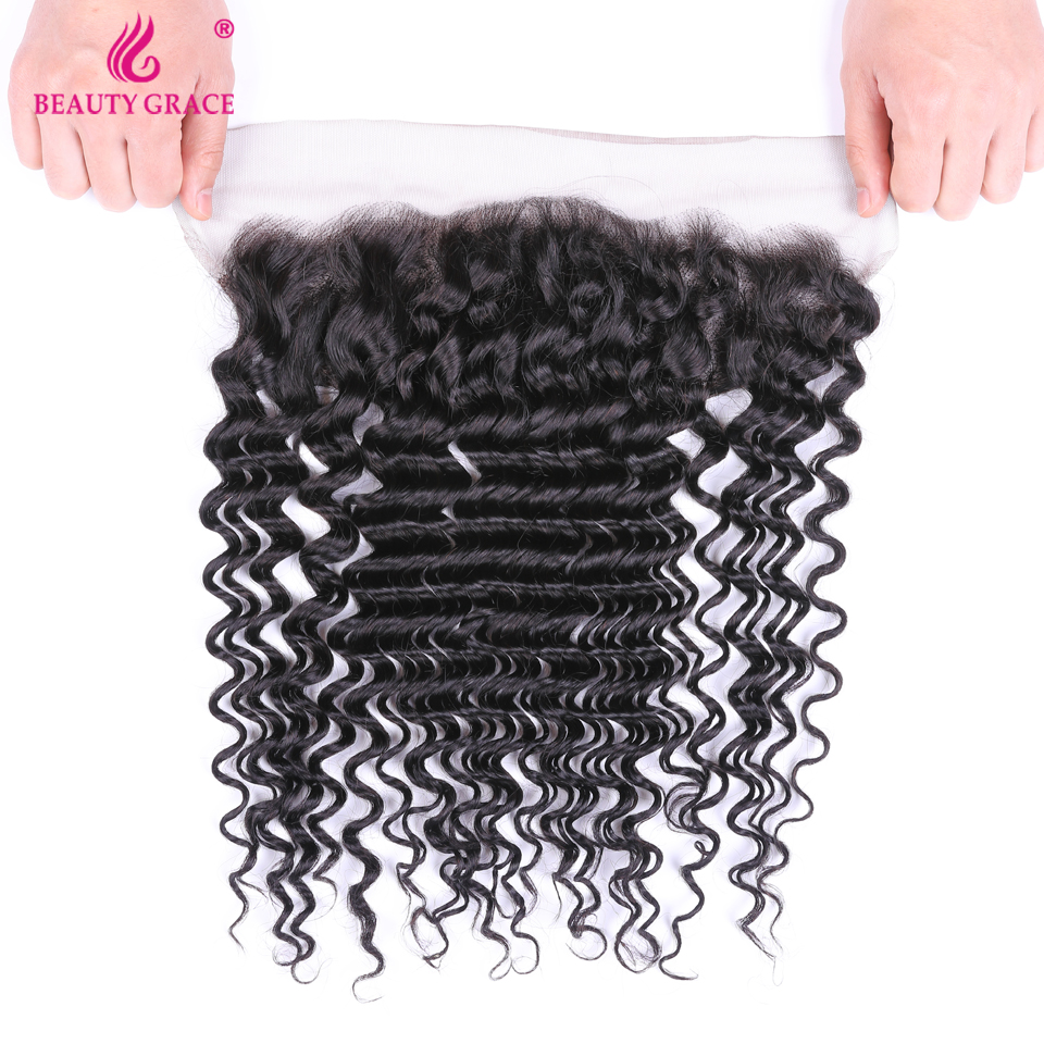 Beauty Grace Deep Wave Bundles With Frontal Brazilian Lace Frontal Closure With Bundle Non Remy Human Hair Bundles With Frontal