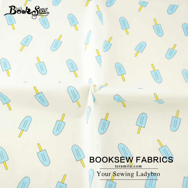 Booksew Tessili Per La Casa Blue Ice cream Deisgn Morbido Panno Quilting Tecido Twill di Cotone Tessuto Per Il Bambino Beding Bambole Patchwork Craft