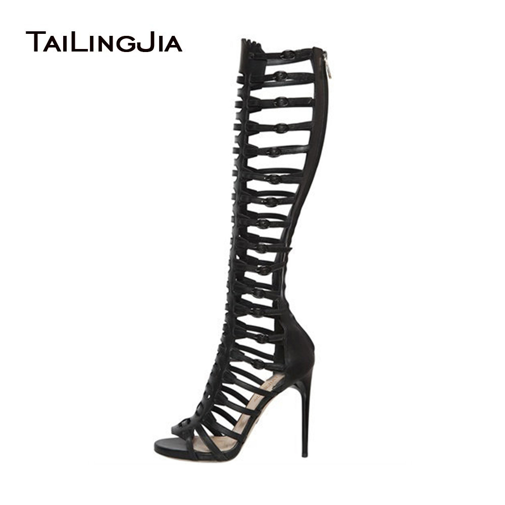 Black High Heel Gladiator Sandals Women 2019 Strappy Heels Laides Sexy Open Toe Knee High Summer Boots Stripper Shoes Big Size
