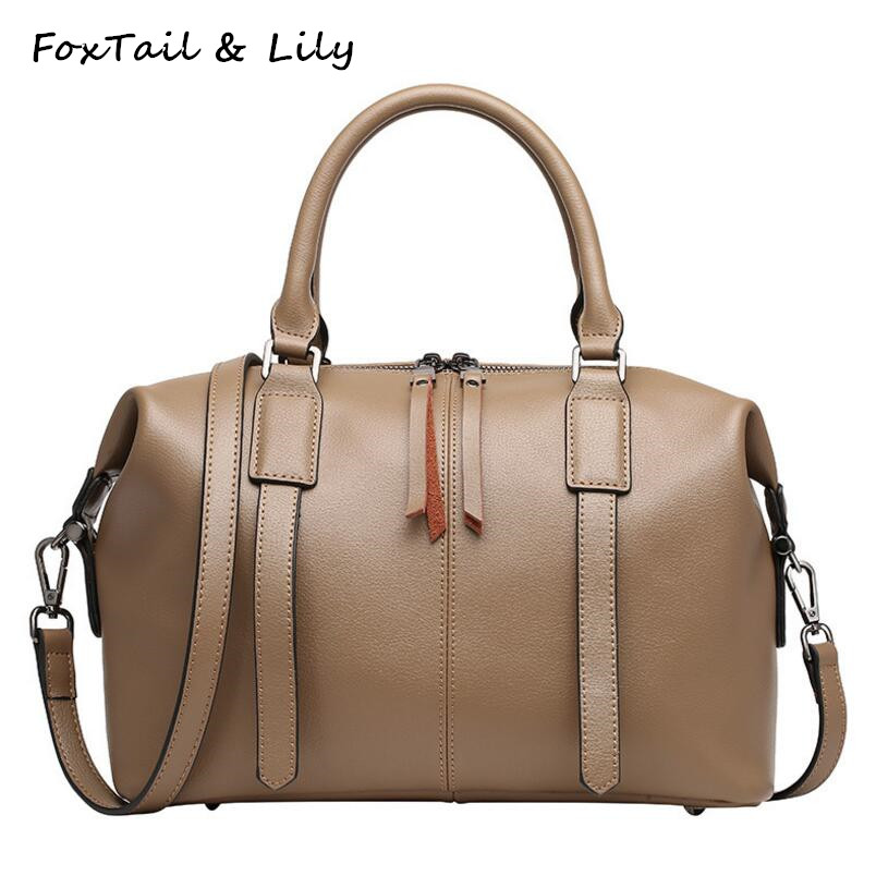 FoxTail & Lily Genuine Leather Boston Bag Women Handbags Luxury Quality Real Leather Shoulder Crossbody Bags Famous Designer