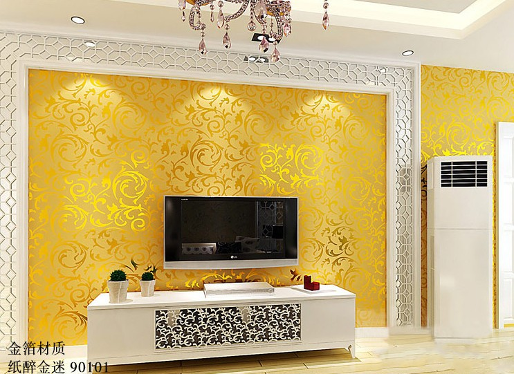цены Free Shipping Luxury gold wallpaper short thickened wallpaper living room TV background wall custom mural stereo wallpaper