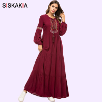 Siskakia Vintage Ethnic Geometric Embroidery Women Long Dress 2019 Casual Maxi Dresses Long Sleeve Draped Swing Burgundy