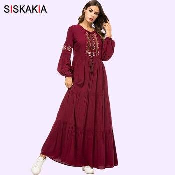 f03ed55846ccc Siskakia Vintage Etnik Geometrik Nakış Kadın uzun elbise 2019 Casual Maxi  Elbiseler Uzun Kollu Dökümlü Salıncak Bordo