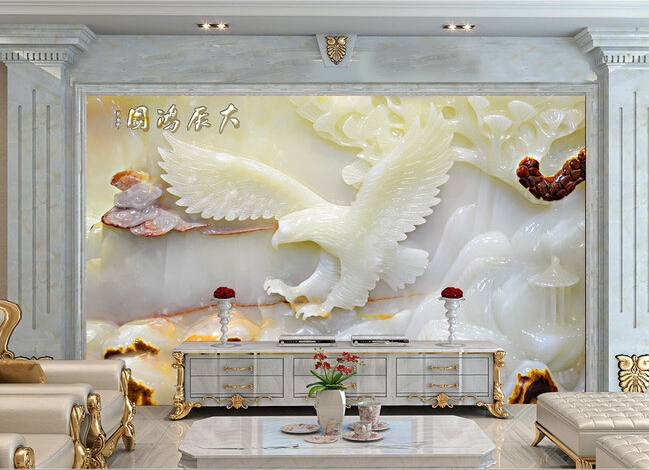 3d Wallpaper Custom Mural Non-woven  Ultra Clear Jade Carving Unfolds The Eagle Background Wall Murals