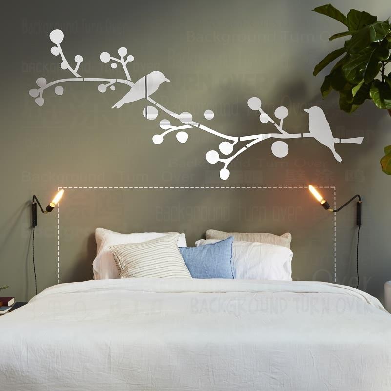 DIY Double Birds Tree 3D Mirror Decorative Wall Sticker Home Salon Decor Bedroom Living Room Decoration Wall Art Poster R212