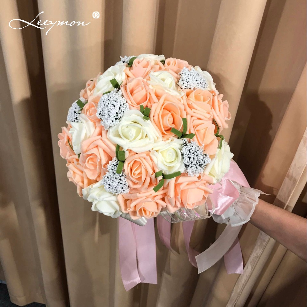 5 Colors Mint Green Artificial flowers Wedding Bridesmaid Bouquets 2017 Romantic Wedding brooch bouquets Wedding Accessies F4