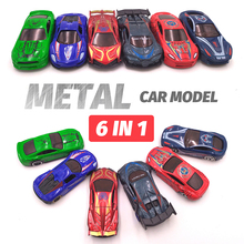 6in1 Metal Diecast Toy Vehicle (6 pcs) Alloy Car Toy Super Avengers Hero Style 1:64 Mini Race Car Model Truck Gift for Boys Kids цена
