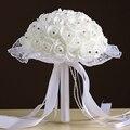 Свадебный Букет 2017 на складе Великолепный Ручной Работы цветки Белые Невесты искусственный Красная Роза Свадебные Букеты