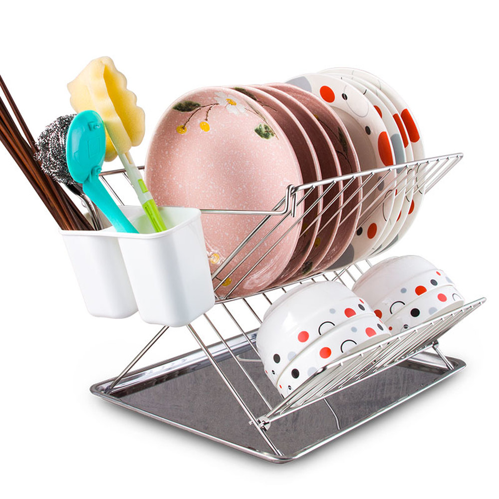 A1 304 stainless steel dish rack drain rack kitchen utensils tableware storage bowl chopsticks shelf Lu52910