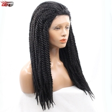 DLME 18inches Afro Wig 2X Twist Braids Wig Natural Black Color Synthetic Lace Front Wig Micro