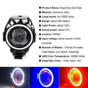 Image 2 - 2PCS x 125W U7 אופנוע עיני מלאך פנס DRL זרקורים עזר בהיר LED אופניים מנורת ערפל אור ספוט אור + מתג
